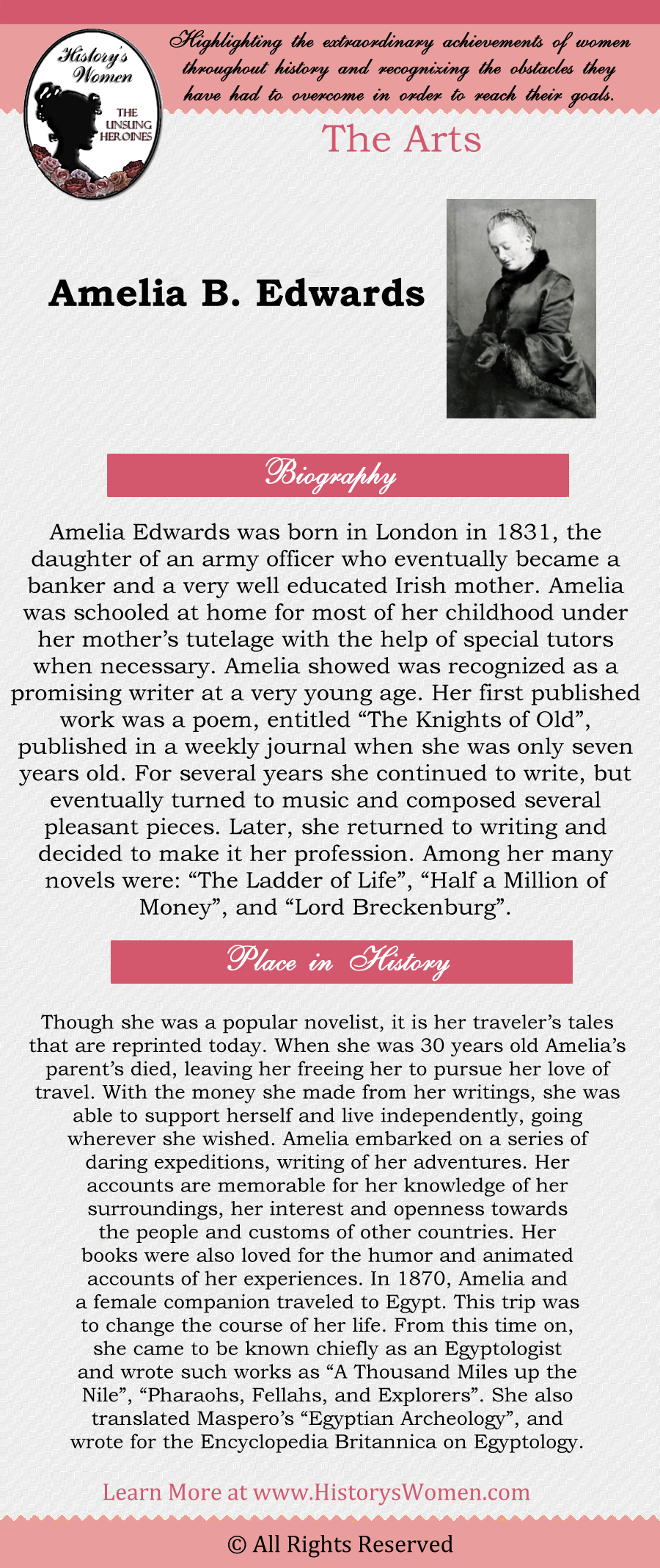 Complete article about Amelia B. Edwards found at HistorysWomen.com!