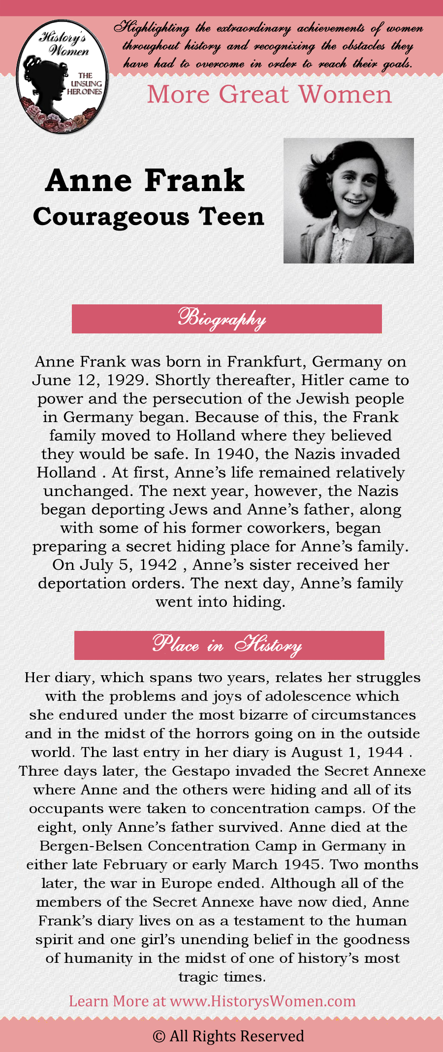 More Great Wome - Anne Frank