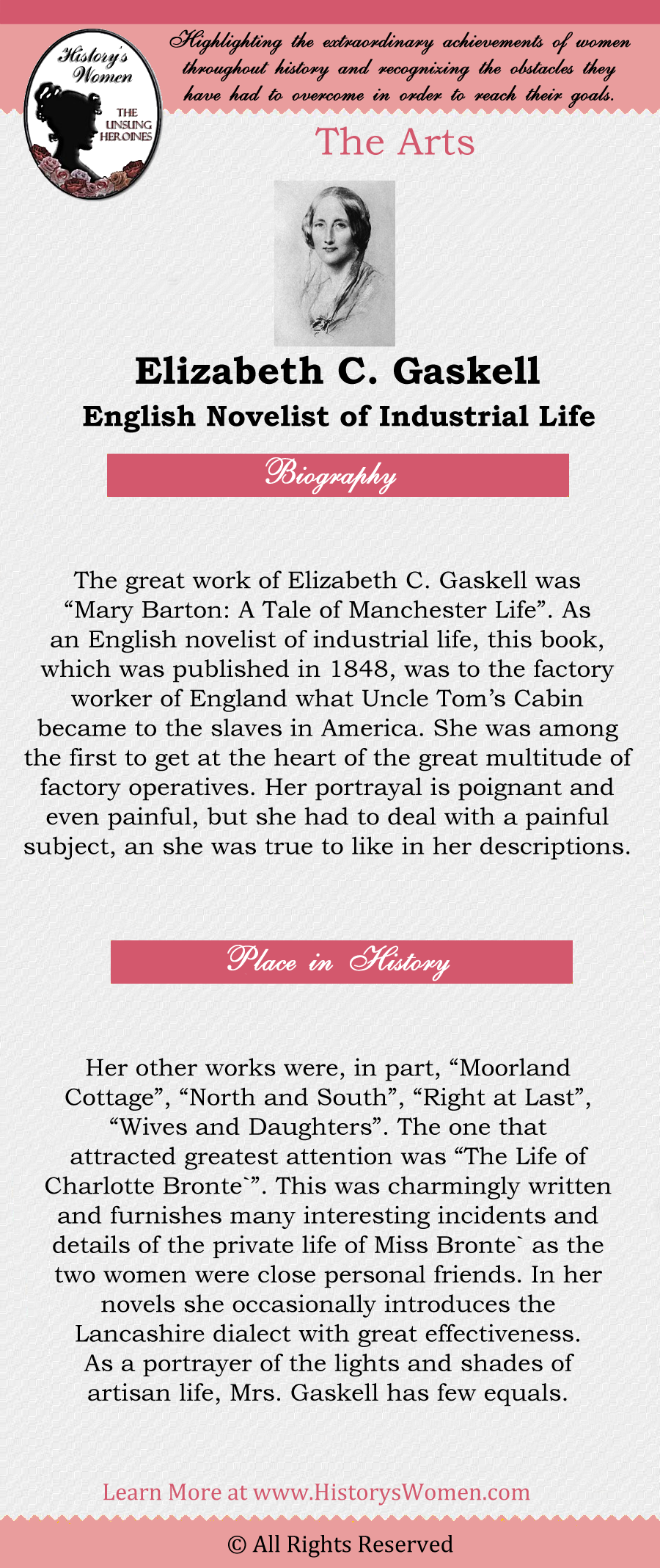 Complete article about Elizabeth C. Gaskell found at HistorysWomen.com!