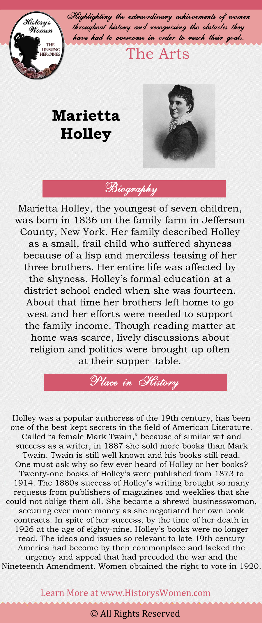 Complete article about Marietta Holley found at HistorysWomen.com!